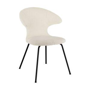 time flies spisebordsstol med sort benstel og sæde i råhvid teddy bear stof fra umage