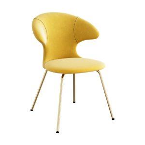 time flies spisebordsstol med benstel i messing og sæde i canary yellow velour fra umage