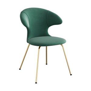 time flies spisebordsstol med benstel i messing og sæde i forest green velour fra umage