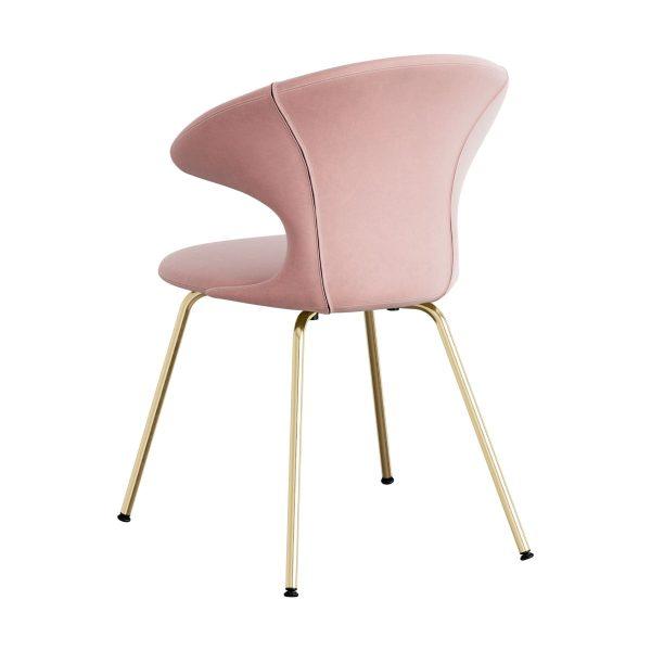 time flies spisebordsstol med benstel i messing og sæde i pale rose velour fra umage