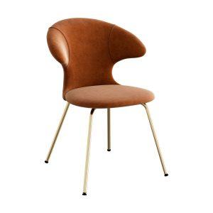 time flies spisebordsstol med benstel i messing og sæde i rusty brown velour fra umage