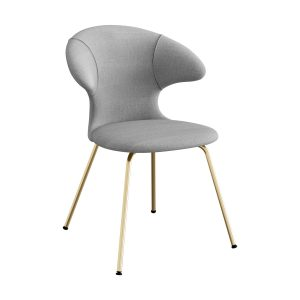 time flies spisebordsstol med benstel i messing og sæde i silver grey fra umage