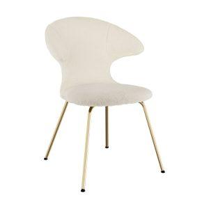 time flies spisebordsstol med benstel i messing og sæde i råhvid teddy bear stof fra umage