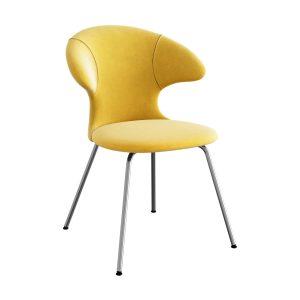 time flies spisebordsstol med benstel i krom og sæde i canary yellow velour fra umage