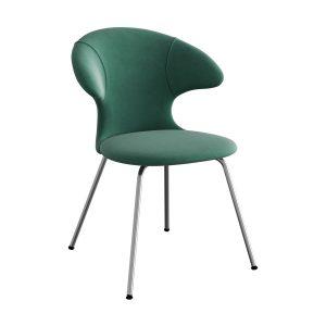 time flies spisebordsstol med benstel i krom og sæde i forest green velour fra umage
