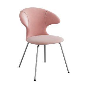 time flies spisebordsstol med benstel i krom og sæde i pale rose velour fra umage
