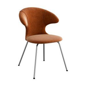 time flies spisebordsstol med benstel i krom og sæde i rusty brown velour fra umage