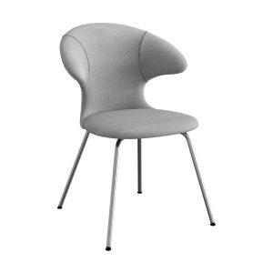 time flies spisebordsstol med benstel i krom og sæde i silver grey fra umage