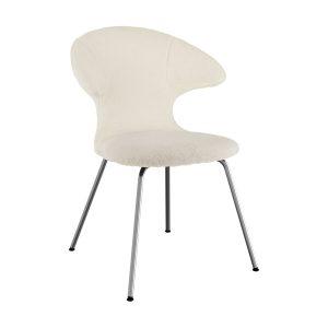 time flies spisebordsstol med benstel i krom og sæde i råhvid teddy bear stof fra umage