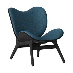 a conversation piece lænestol med lav ryg i sort eg og sæde i petrol blue fra umage