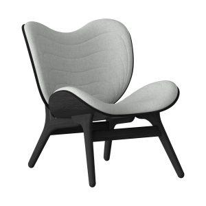 a conversation piece lænestol med lav ryg i sort eg og sæde i silver grey fra umage
