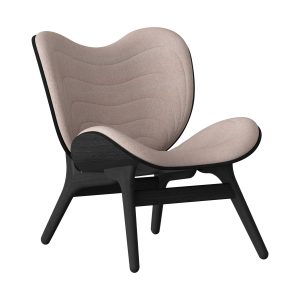 a conversation piece lænestol med lav ryg i sort eg og sæde i dusty rose fra umage