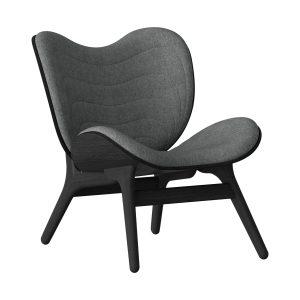 a conversation piece lænestol med lav ryg i sort eg og sæde i slate grey fra umage