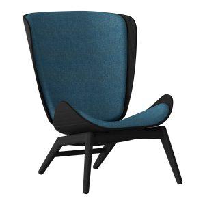 the reader lænestol i sort eg og sæde i petrol blue fra umage