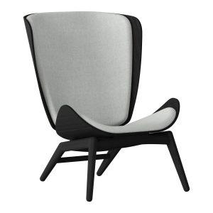 the reader lænestol i sort eg og sæde i silver grey fra umage