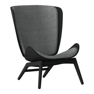the reader lænestol i sort eg og sæde i slate grey fra umage
