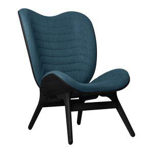 a conversation piece lænestol med høj ryg i sort eg og sæde i petrol blue fra umage