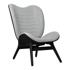a conversation piece lænestol med høj ryg i sort eg og sæde i silver grey fra umage