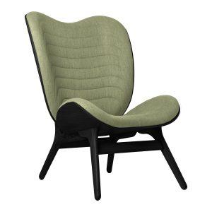 a conversation piece lænestol med høj ryg i sort eg og sæde i spring green fra umage