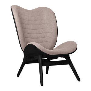 a conversation piece lænestol med høj ryg i sort eg og sæde i dusty rose fra umage