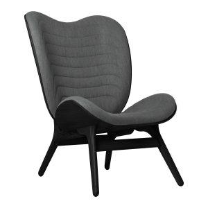 a conversation piece lænestol med høj ryg i sort eg og sæde i slate grey fra umage