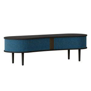 audacious tv bord og siddemøbel i sort eg med jalousidøre i tekstil i farven petrol blue fra umage