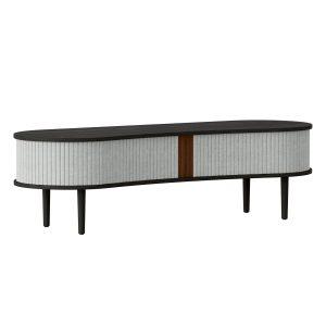 audacious tv bord og siddemøbel i sort eg med jalousidøre i tekstil i farven silver grey fra umage