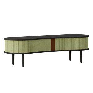 audacious tv bord og siddemøbel i sort eg med jalousidøre i tekstil i farven spring green fra umage
