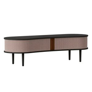 audacious tv bord og siddemøbel i sort eg med jalousidøre i tekstil i farven dusty rose fra umage