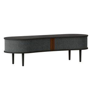 audacious tv bord og siddemøbel i sort eg med jalousidøre i tekstil i farven slate grey fra umage