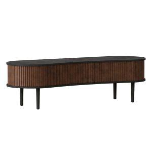 audacious tv bord og siddemøbel i sort eg med jalousidøre i tekstil i farven hazelnut fra umage