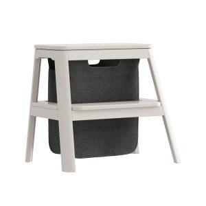 step it up taburet med opbevaringspose i pearl white fra umage