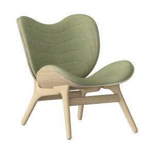 a conversation piece lænestol med lav ryg i eg og sæde i spring green fra umage
