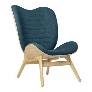 a conversation piece lænestol med høj ryg i eg og sæde i petrol blue fra umage