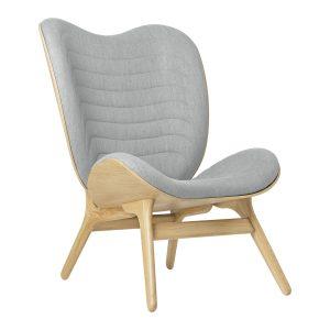 a conversation piece lænestol med høj ryg i eg og sæde i silver grey fra umage