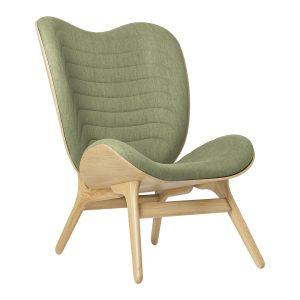 a conversation piece lænestol med høj ryg i eg og sæde i spring green fra umage