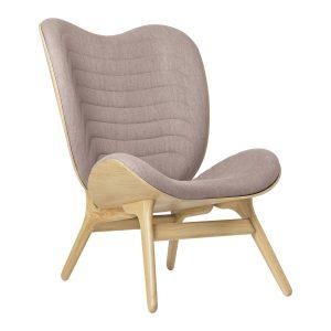 a conversation piece lænestol med høj ryg i eg og sæde i dusty rose fra umage