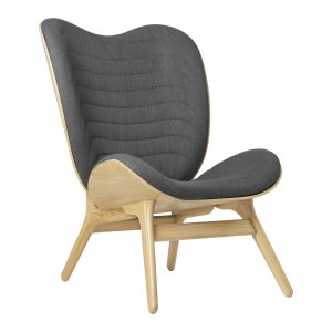 a conversation piece lænestol med høj ryg i eg og sæde i slate grey fra umage
