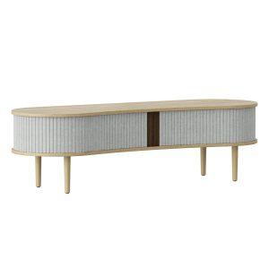audacious tv bord og siddemøbel i eg med jalousidøre i tekstil i farven silver grey fra umage