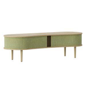 audacious tv bord og siddemøbel i eg med jalousidøre i tekstil i farven spring green fra umage
