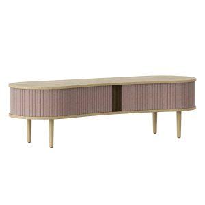audacious tv bord og siddemøbel i eg med jalousidøre i tekstil i farven dusty rose fra umage