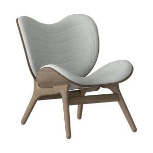 a conversation piece lænestol med lav ryg i mørk eg og sæde i silver grey fra umage