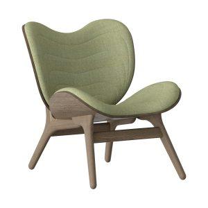 a conversation piece lænestol med lav ryg i mørk eg og sæde i spring green fra umage