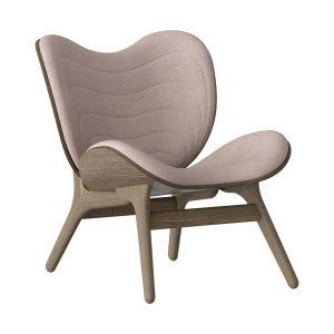 a conversation piece lænestol med lav ryg i mørk eg og sæde i dusty rose fra umage