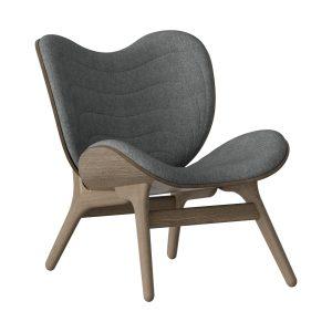 a conversation piece lænestol med lav ryg i mørk eg og sæde i slate grey fra umage