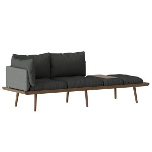 lounge around 3-personers sofa i mørk eg med grå hynder fra umage