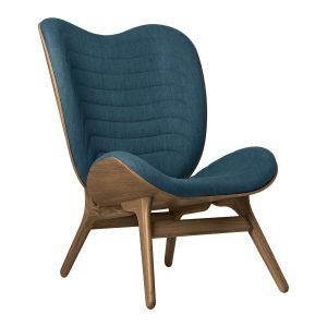 a conversation piece lænestol med høj ryg i mørk eg og sæde i petrol blue fra umage