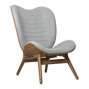 a conversation piece lænestol med høj ryg i mørk eg og sæde i silver grey fra umage