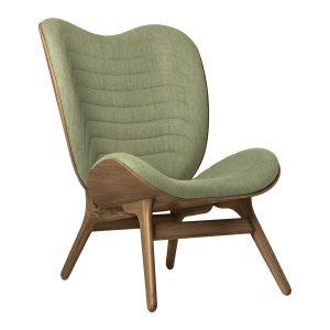 a conversation piece lænestol med høj ryg i mørk eg og spring green fra umage