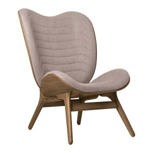 a conversation piece lænestol med høj ryg i mørk eg og dusty rose fra umage